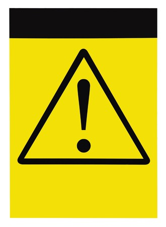 Blank yellow black triangle general caution danger warning attention sign, isolated Stock Photo - 7404081