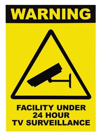 Facility protected, under 24 hour video surveillance text sign, isolated photo
