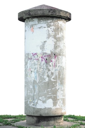 Grunge concrete advertising pillar, isolated on white photo