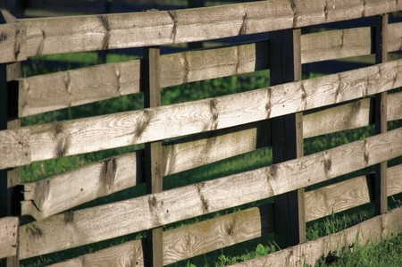 Large Horizontal Weathered Wooden Fence Panel In Grass Stock Photo - 7498368