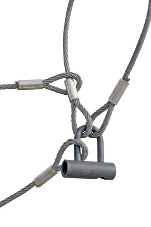 Industrial Safety Lock and Interlocked Wire Loop Ropes Closeup, Isolated photo