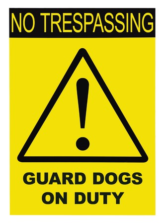 trespasser: Yellow black triangle No Trespassing Guard Dog On Duty Text Sign, isolated Stock Photo