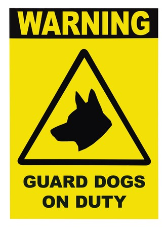 trespasser: Yellow black triangle Warning Guard Dogs On Duty Text Sign, isolated