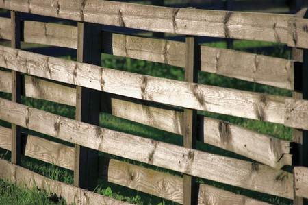Large Horizontal Weathered Wooden Fence Panel In Grass Stock Photo - 7710776
