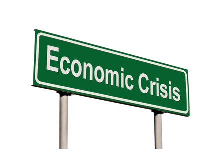 Economic Crisis Green Road Sign, Isolated On White Background Stock Photo - 7710747