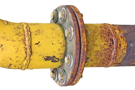 flange: Weathered old aged grunge gas pipe connection flange joints, isolated Stock Photo