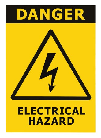 Danger Electrical Hazard Triangle Sign With Text, Isolated photo