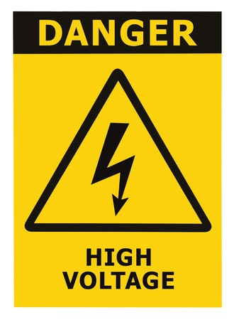 Danger High Voltage Sign With Text, Isolated photo