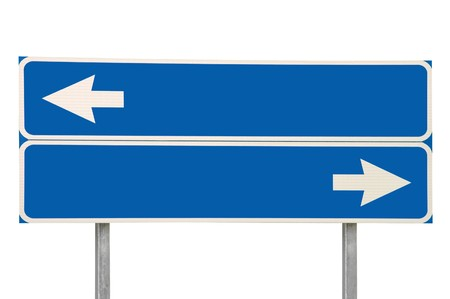 Crossroads Road Sign, Two Arrow Blue Isolated Stock Photo - 8004543