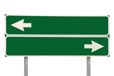 ad sign: Crossroads Road Sign, Two Arrow Green Isolated Stock Photo