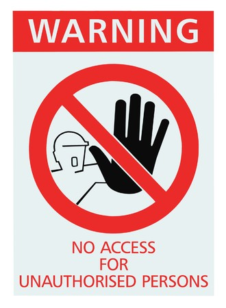 unauthorized: No access for unauthorised persons red sign, isolated Stock Photo
