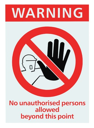 unauthorized: No access for unauthorised persons triangle sign, isolated Stock Photo