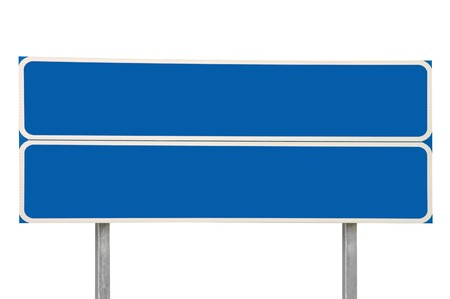 Crossroads Road Sign, Two Arrow Blue Isolated photo