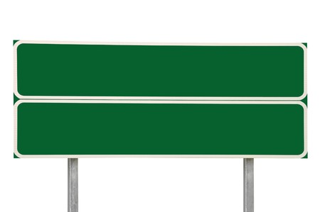 doubled: Two Crossroads Road Signs, Green Isolated Stock Photo