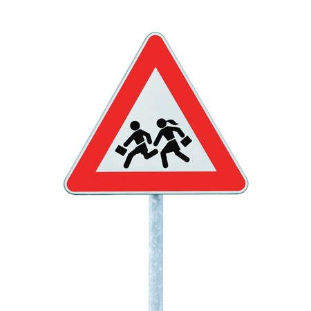 zoned: European School Crossing Roadside Warning Sign, Isolated