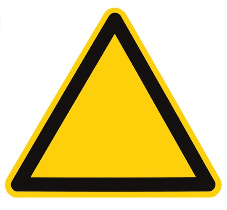 Blank Danger And Hazard Sign, isolated, black triangle over yellow, large macro Stock Photo - 8101387