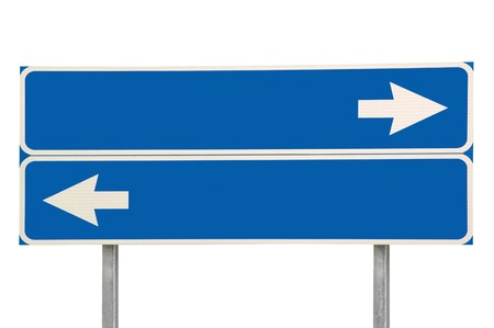 Crossroads Road Sign, Two Arrow Blue Isolated Stock Photo - 8101391