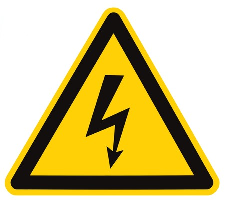 Danger Electrical Hazard High Voltage Sign Isolated, black triangle over yellow, large macro Stock Photo - 8101388