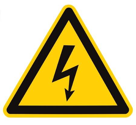 Peligro el�ctrico Hazard High Voltage Sign aislado, tri�ngulo negro sobre macro amarillo, gran