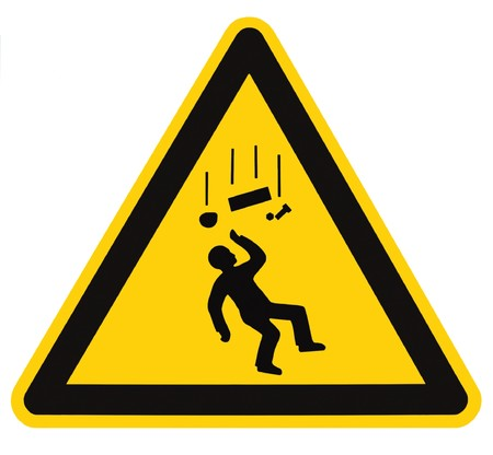 Danger Falling Objects Warning Sign Isolated, black drop triangle over yellow, large macro Stock Photo