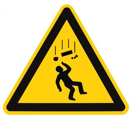 Gefahr Falling Objekte Warning Sign isoliert, schwarz drop Dreieck über gelb, large Makro Standard-Bild