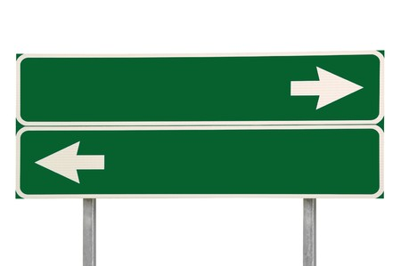 doubled: Crossroads Road Sign, Two Arrow Green Isolated Stock Photo