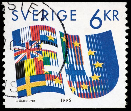 Sweden, The European Union 1995 Postage Stamp Isolated On Black Stock Photo - 8101396