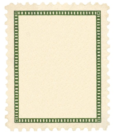 Blank Vintage Postage Stamp, Green Vignette Macro, Vertical, Isolated Stock Photo - 8101395