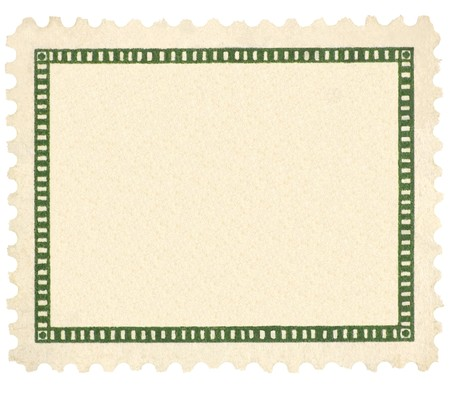 Blank Vintage Postage Stamp, Green Vignette Macro, Isolated Stock Photo - 8101394