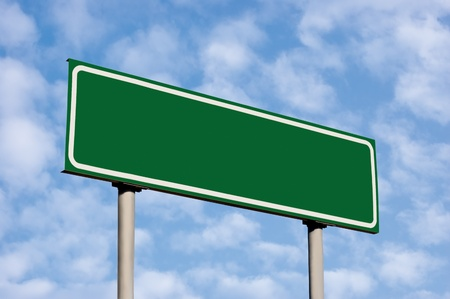 blank road sign: Blank Green Road Sign, Against Light Cloudscape, Summer Sky And Clouds
