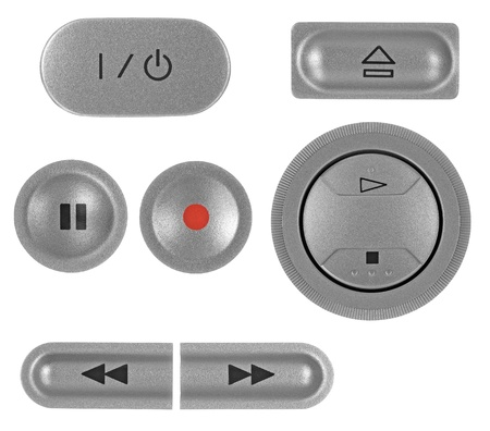 standby: Natural silver grey metallic DVD recorder buttons set, isolated macro closeup Stock Photo