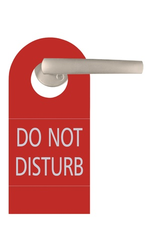 do not: Large Red Do Not Disturb Tag And Door Handle, Isolated