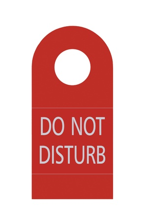 disturb: Red Do Not Disturb Door Handle Tag, Isolated