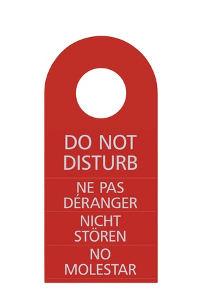Red Do Not Disturb Door Handle Tag, Isolated, English, French, German, Spanish photo