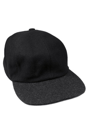 brim: Fine wool black baseball style cap with grey brim, isolated warm men hat for autumn  winter Stock Photo