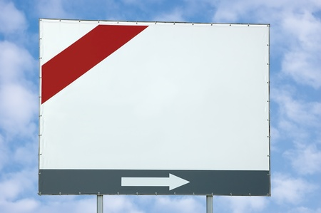 Blank white billboard with red and grey bar and arrow over light cloudscape photo