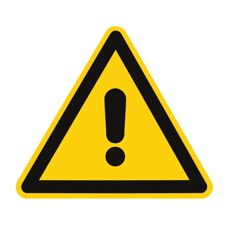 restrictions: Other Danger And Hazard Sign, isolated, black general warning triangle over yellow, large macro Stock Photo