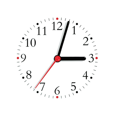 Analogue clock face dial in black and seconds hand in red at 3:03, isolated photo