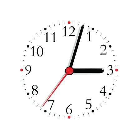 Reloj anal�gico rostro marcado en mano negra y segundos en rojo a las 3: 03, aislado Foto de archivo