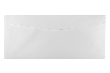Back of an unused white letter size envelope, isolated photo