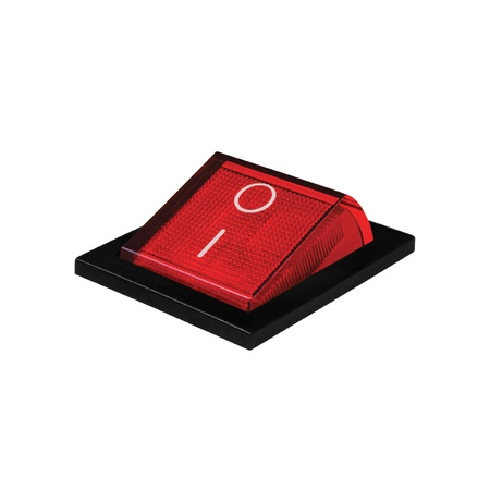 Red power switch at on position, isolated macro closeup Stock Photo - 9280698