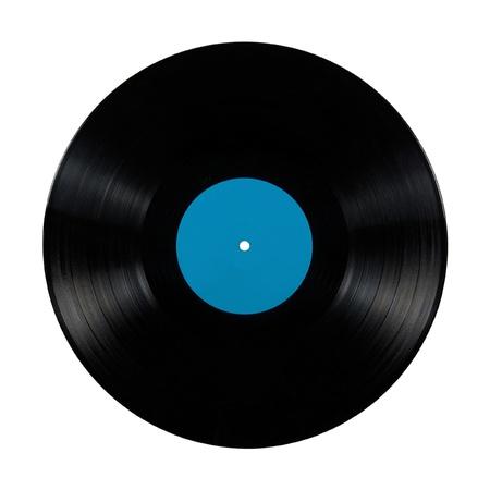 Disco de vinilo negro lp �lbum; aislada durante mucho tiempo el juego disco con una etiqueta en blanco en azul cian Foto de archivo