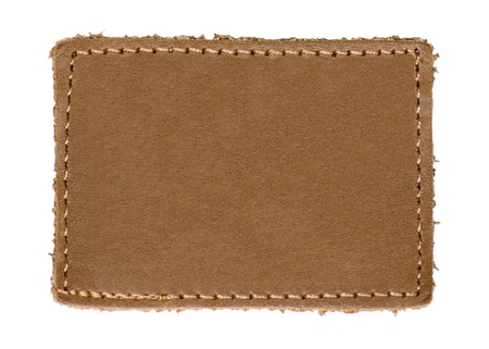 stitched: Natural Blank Beige Brown Leather Label, Jeans Tag, Isolated