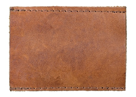 stitched: Blank Natural Leather Label Jeans Tag, Isolated Macro Background