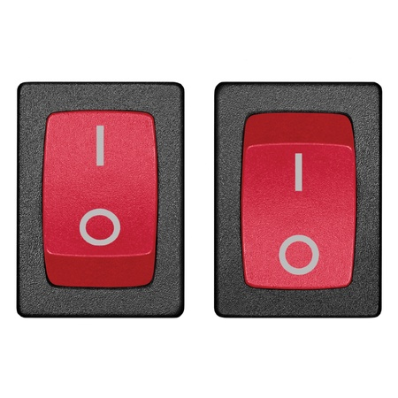 Red power switch in on off position, isolated macro closeup Stock Photo - 9280707