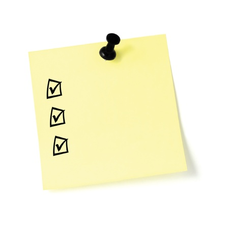 Yellow post-it sticker checklist, black check boxes and tick marks, thumbtack pushpin isolated, blank post-it to-do list sticky note Stock Photo
