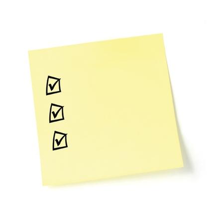 todo: Liste de contr�le de vignette jaune post-it, cases � cocher noirs et graduations, isol�es, repositionnable � liste de t�ches de vide post-it