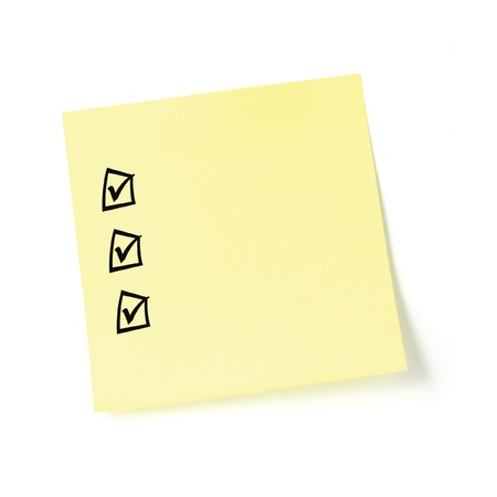 blank check: Yellow post-it sticker checklist, black check boxes and tick marks, isolated, blank post-it to-do list sticky note