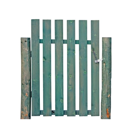 Aged Green Weathered Wooden Gate, Isolated Garden Fence Entrance photo