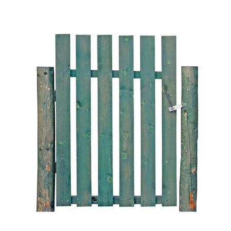 Green a�os soport� port�n de madera, entrada aislados de valla de jard�n Foto de archivo